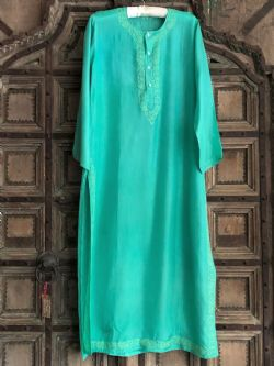 Pure Silk Kaftan with Embroidery - Apple Green